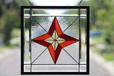 "Beveled Stained Glass Window Panel, Ready to Hang ≈17 1/8"" x 17 1/8"""
