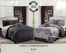 5 Piece Gray Reversible King Size Comforter Set AND Decorative Pillows