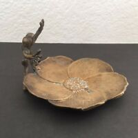 Antique Brass Frog w/ Water Lily Calling Card Receiver Holder Coin Dish