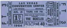 1  BEATLES VINTAGE UNUSED FULL CONCERT TICKET 1964 Las Vegas, Nevada  laminated
