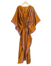 Indian Vintage Handmade SILK Sari Kaftan Plus Size Maxi Beach Caftan Resort Wear