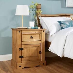 Corona Solid Pine Bedside Cabinet 1 Door 1 Drawer Table Seconds