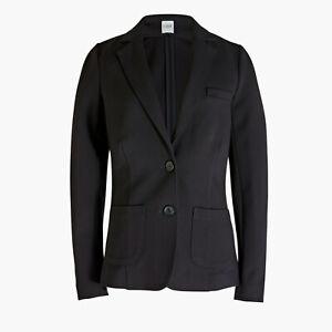 J Crew Factory Women's Ponte Work Blazer Black Suit Jacket AE076 Size 2 $138 NEW