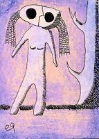 21022009 e9Art ACEO Spirit Ghost Surrealism Outsider Folk Art Brut Painting OOAK