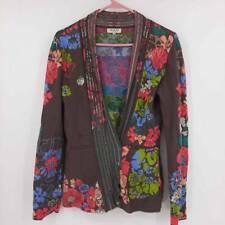 IVKO Anthropologie Womens Cardigan Sweater Brown Blue Floral Long Sleeve 8