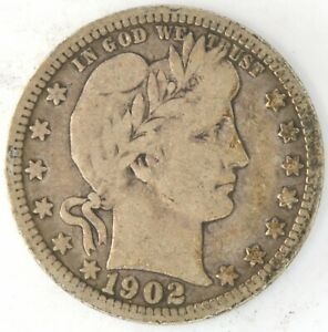 1902 O Barber Quarter Dollar US 25 Cent 90% Silver Coin New Orleans Semi key