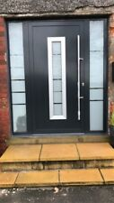Black door + 2 side panels - made to order in Schuco aluminium