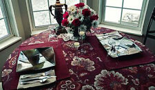 "Contemporary Watercolor Fall Decor Tablecloth 70"" Round Burgundy Gray Orange"