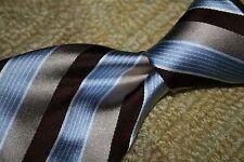 NWT Ike Behar Blue & Brown Woven Stripe Silk XL Tie USA