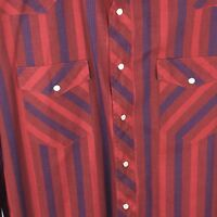 Wrangler Mens Men's 17 1/2 X 34 X-Long Tails Red Blue Stripe Pearl Snap Shirt
