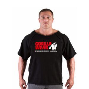 Men's Bodybuilding Gorilla Wear Shirt Bat Sleeve Wide Collar Workout T-shirt Top