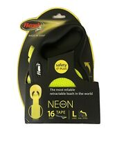 Flexi Leash 16' Neon Yellow Retractable 16 Ft Tape Leash Large up to 110Lbs NIB