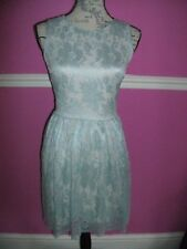 MISS SELFRIDGE green & nude floral lace skater party occasion dress 8 sleeveless