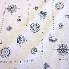Stoff Meterware Baumwolle pflegeleicht Seekarte Nautik maritim weiß blau Nordsee