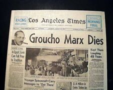Best GROUCHO MARX Brothers Comedian Film Star Actor DEATH 1977 L. A. Newspaper
