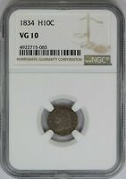 1834 NGC H10C Silver Capped Bust Half Dime VG10 Very Good US Coin