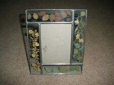 "Pressed Flowers Stain Glass Art Deco Photo Picture Frame 8"" x 6.5"" Frame"