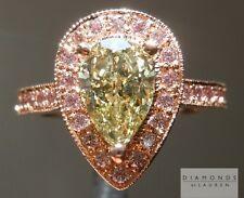 1.24ct Fancy Brownish Greenish Yellow Pear Shape Ring R4125 Diamonds by Lauren