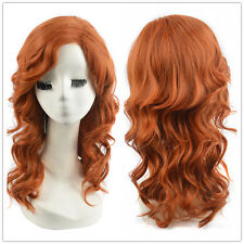 Copper orange red Women Orange Medium Length Wavy Curly Hair La La Land Wigs
