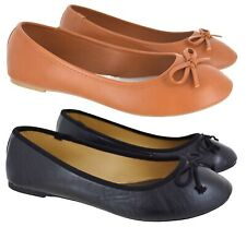 LADIES WOMENS FLAT DOLLY BOW PUMPS BALET BALLERINA SCHOOL WORK SHOES SIZE 3-8