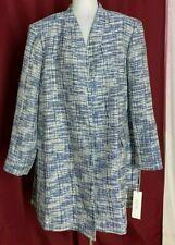 Calvin Klein Women Blue White Open Cardigan Jacket 22 W XXL 1XL 3XL  New NWT