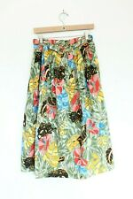 Women Vintage Midi Skirt Jungle Print Pockets Animal Cat Belt 4 or 6 ? flowers
