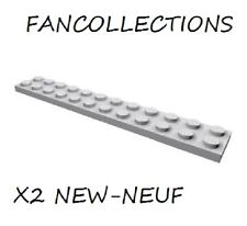LEGO x 2 - Light Bluish Gray Plate 2x12 - 2445  NEUF