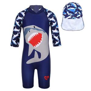 Kid Baby Summer Short Sleeve Swimsuit Rash Guard Shark Swimwear Costume&Swim Cap