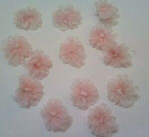 Frilled pink organza flowers /embellishments x 6 pcs/ 25mm/1''diametre