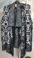 NEW- L Large XL Black Gray Brocade Boho Eyelash Fringe Sweater Vest