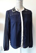 M&S Navy blouse shirt sheer fabric beaded collar LOOK