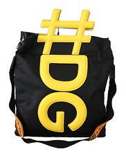 DOLCE & GABBANA Bag Black Yellow #DG Men Shoulder Strap Shopping Tote RRP $1300