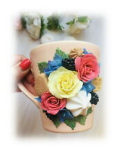 Decorated flower rose mug handmade Unique tea coffee Funny Personalized gift