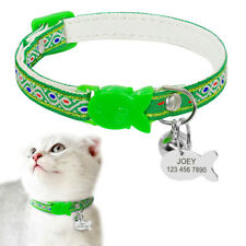 Cute Cat Collar & Bell Kitten Nylon Pet Breakaway Collars with Name Engraved