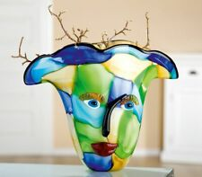 WOW! HUGE Picasso Inspired Art Glass Face Vase FREE WORLDWIDE SHIPPING
