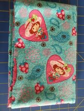 """Strawberry Shortcake Paisley Kids Flannel Fabric - 1/2 yd +5"""" (23"""") Teal"""