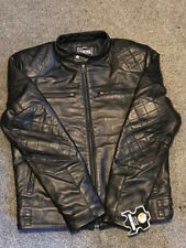 Mens Black David Beckham Real Leather Jacket Biker Vintage Slim Fit Genuine New
