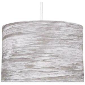 """12"""" GREY CRUSH VELVET FABRIC DRUM SHAPE LAMPE SHADE CEILING LIGHT"""