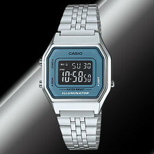 Casio LA-680WA-2B Ladies Silver Digital Blue Watch Steel Band Black Vintage