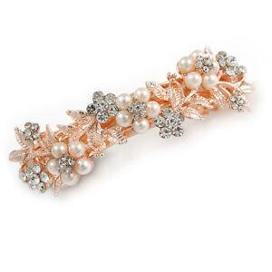 Bridal Wedding Prom Rose Gold Tone Simulated Pearl Diamante Floral Barrette