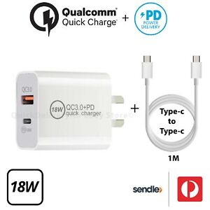 Type-C cable 1m + 18W USB-C Fast Charger for iPad Pro 18W PD + QC3.0 AU Qualcomm