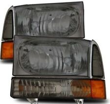 99-04 F250 F350 F450 Harley Davidson Black Headlights Euro Clear Smoke Smoked
