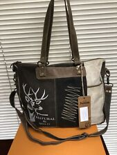 Sunsa Vintage Canvas & Leather Crossbody Bag Natural & Wild Sunsa India Handbag