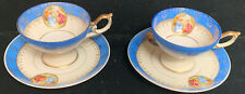 2 Vintage Made In Japan Cups & Saucers Hallmarked With Victorian Scenes ( D)