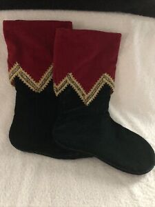 """Set Of 2 Red & Green Christmas Stockings With Gold Ribbon Trim 16"""" Long New"""
