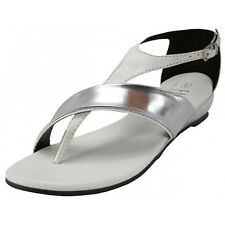 Women's Low Wedge T Strap Sandals Metallic Mirror Silver Accent Black White NEW