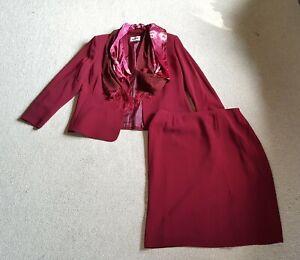 NWT $239 Womens Skirt Suit-KASPER-maroon lined w/ two scarves-18