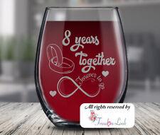 Eighth Wedding Anniversary Wine Glass, Husband & Wife 8th Anniversary, 8 Years