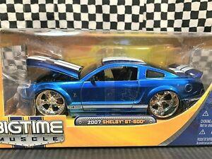 Jada BigTime Muscle 2007 Shelby GT-500 - Blue w/White Stripes - 1:24 Diecast MIB