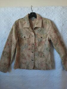 ANALOGY Jacket Stretch Paisley Rose/Gold Brocade Metal Button Boho Chic-Med /D/